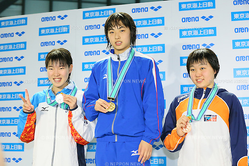 (L to R) <br /> Haruka Nagashima, <br /> Karin Takemura, <br /> Serena Sasahara, <br /> MARCH 29, 2015 - Swimming : <br /> The 37th JOC Junior Olympic Cup <br /> Women's 200m Freestyle <br /> 13-14 years old award ceremony <br /> at Tatsumi International Swimming Pool, Tokyo, Japan. <br /> (Photo by YUTAKA/AFLO SPORT)