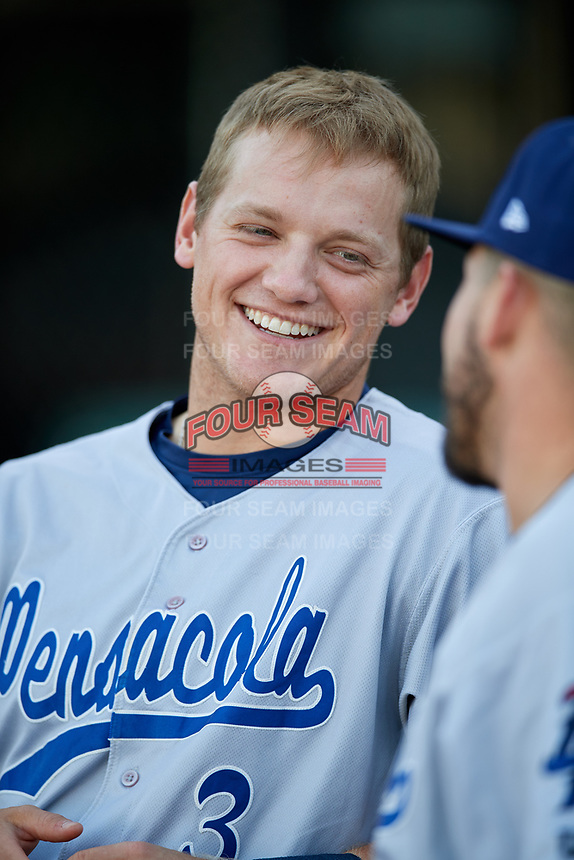 Pensacola Blue Wahoos second baseman Josh VanMeter (3) before a game against the Mobile BayBears on April 25, 2017 at Hank Aaron Stadium in Mobile, Alabama.  Mobile defeated Pensacola 3-0.  (Mike Janes/Four Seam Images)