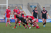 10th February 2019, AJ Bell Stadium, Salford, England; Betfred Super League rugby, Salford Red Devils versus London Broncos; Kieran Dixon of London Broncos is tackled by Gil Dudson and Jansin Turgut of Salford Red Devils