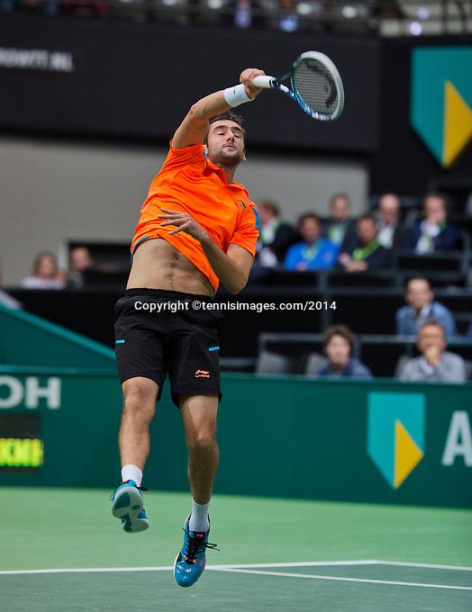 12-02-14, Netherlands,Rotterdam,Ahoy, ABNAMROWTT,      Marin Cilic (CRO)<br /> Photo:Tennisimages/Henk Koster