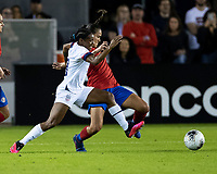 HOUSTON, TX - FEBRUARY 03: Crystal Dunn #19 of the USA and Maria Coto #3 of Costa Rica contest the ball during a game between Costa Rica and USWNT at BBVA Stadium on February 03, 2020 in Houston, Texas.