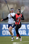 GER - Mainz, Germany, March 20: During the 1. Bundesliga Damen lacrosse match between Mainz Musketeers (white) and SC Frankfurt 1880 (red) on March 20, 2016 at Sportgelaende Dalheimer Weg in Mainz, Germany. Final score 7-12 (HT 3-5). (Photo by Dirk Markgraf / www.265-images.com) *** Local caption *** Anna Kujawa #3 of Mainz Musketeers, Elisabeth Lippert #2 of SC Frankfurt 1880