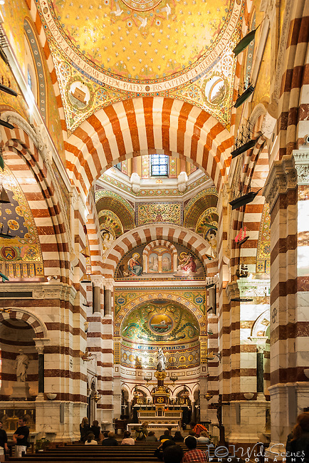 Interior of Basilica Notre-Dame of the Garde, Marseille, France.