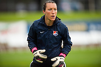 Sky Blue FC goalkeeper Jill Loyden (21) during warmups. Sky Blue FC defeated the Seattle Reign FC 2-0 during a National Women's Soccer League (NWSL) match at Yurcak Field in Piscataway, NJ, on May 11, 2013.