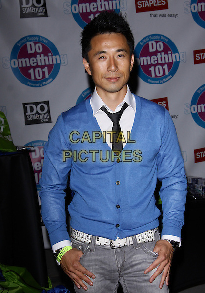 "JAMES KYSON LEE.""Do Something 101 Back Pack Party""  held at The Globe Theatre at Universal, Universal City, California, USA..August 8th, 2010.half length blue cardigan white shirt .CAP/ADM/TC.©T. Conrad/AdMedia/Capital Pictures."