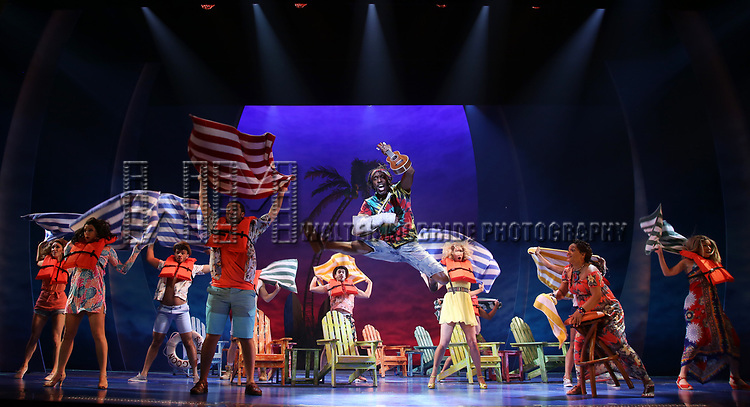 Andre Ward and cast during the Press Sneak Peak for the Jimmy Buffett  Broadway Musical 'Escape to Margaritaville' on February 15, 2018 at the Marquis Theatre in New York City.