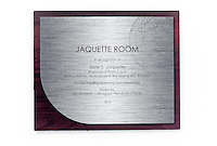 Sign outside of Jaquette Room (classroom 301) of Johnson Hall. Professor Emeritus Jane Jaquette is recognized for her work by her peers during Alumni Reunion Weekend, Saturday, June 21, 2014 in a classroom of Johnson Hall (Photo by Marc Campos, Occidental College Photographer)