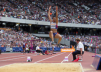 Morgan LAKE of GBR during the Long Jump during the Sainsbury's Anniversary Games, Athletics event at the Olympic Park, London, England on 25 July 2015. Photo by Andy Rowland.