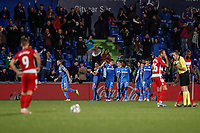 31st October 2019; Coliseum Alfonso Perez, Madrid, Spain; La Liga, Club Getafe Club de Futbol versus Granada Club de Futbol; David Timor (Getafe CF)  celebrates his goal which made it 3-1 in the 88th minute - Editorial Use
