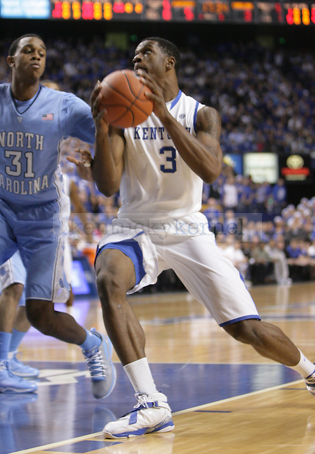 UK forward Terrence Jones goes to the basket during the first half of UK's home game against North Carolina at Rupp Arena in Lexington, Ky., Dec. 1, 2011. Photo by Brandon Goodwin