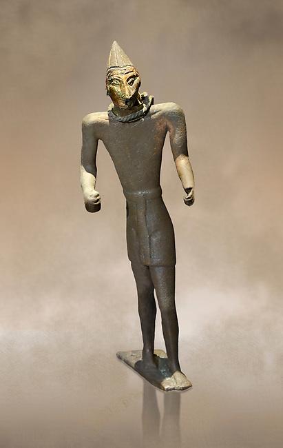Hittite bronze figure with a mask, Hittite Period. Adana Archaeology Museum, Turkey.