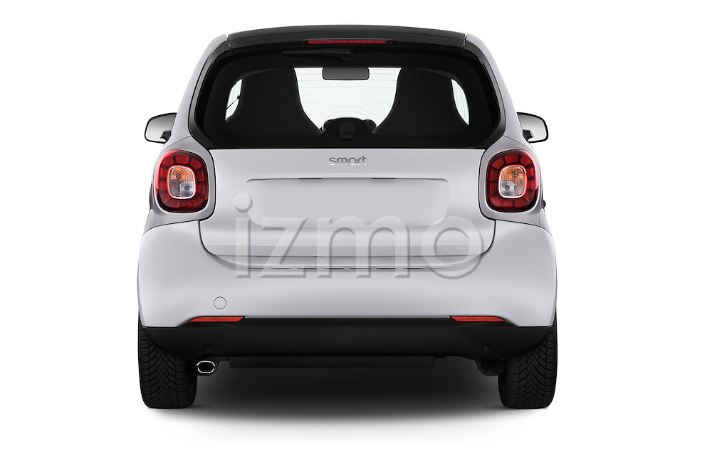 Straight rear view of 2016 Smart fortwo prime 3 Door Micro Car Rear View  stock images
