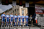 Total Direct Energie in their new kit at the team presentations in Compiegne before Paris-Roubaix 2019, Compuiegne, France. 13th April 2019<br /> Picture: ASO/Pauline Ballet | Cyclefile<br /> All photos usage must carry mandatory copyright credit (© Cyclefile | ASO/Pauline Ballet)
