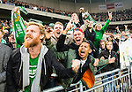 ***BETALBILD***  <br /> Stockholm 2015-09-27 Fotboll Allsvenskan Hammarby IF - AIK :  <br /> Hammarbys supportrar jublar efter 1-0 segern efter matchen mellan Hammarby IF och AIK <br /> (Foto: Kenta J&ouml;nsson) Nyckelord:  Fotboll Allsvenskan Tele2 Arena Hammarby HIF Bajen AIK Derby jubel gl&auml;dje lycka glad happy supporter fans publik supporters