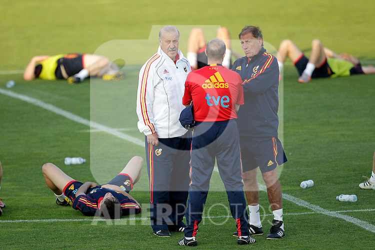 MADRID (24/05/09).- The Spanish Soccer national team has officially begun their hunt for the championship, arriving in the Madrid municipality of Las Rozas to begin preparing for South Africa World Cup.  Vicente del Bosquea nd Toni Grande...PHOTO: Cesar Cebolla / ALFAQUI
