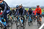 The peloton including World Champion Alejandro Valverde (ESP) Movistar Team during a wet miserable 105th edition of Liège-Bastogne-Liège 2019, La Doyenne, running 256km from Liege to Liege, Belgium. 28th April 2019<br /> Picture: Colin Flockton | Cyclefile<br /> All photos usage must carry mandatory copyright credit (© Cyclefile | Colin Flockton)