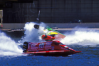 Frame 1: Richard Hearn (#12) and Wyatt Nelson (#39) race to the East turn where they make contact and crash behind Todd Bowden (#34). Pittsburgh, PA 1998  (SST-120)