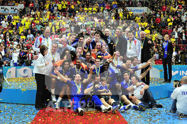 110130 Handboll, VM, Final Frankrike v Danmark: WM Sieger und Goldmedaillie fuer Frankreich. Foto © nph / Bildbyrån   73207
