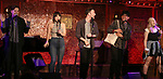 "Andy Mientus, Krista Rodriguez, Nick Blaemire, George Salazar and Lauren Marcus from the cast of ""The Jonathan Larson Project"" during the press preview on October 3, 2018 at Feinstein's/54 Below in New York City."