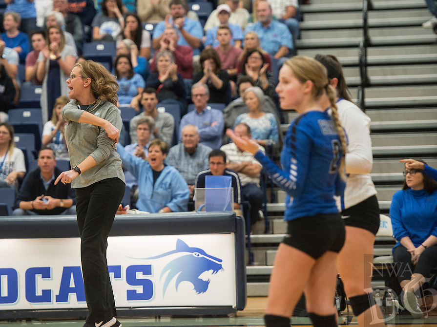 NWA Democrat-Gazette/ANTHONY REYES &bull; @NWATONYR<br /> Laura Crow, Conway head coach, argues a call against Springdale Har-Ber Thursday, Oct. 27, 2016 during the 7A State Tournament at Wildcat Arena in Springdale. The Lady Wildcats won in five sets earning a berth in the 7A state championship.