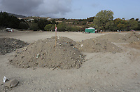 Pictured: Piles of soil, some already examined, some waiting to be sifter at the farmhouse site, where Ben Needham disappeared from in Kos, Greece. Wednesday 12 October 2016<br />