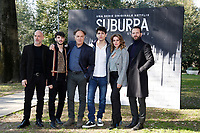 Filippo Nigro, Giacomo Ferrara, Francesco Acquaroli, Eduardo Valdarnini, Claudia Gerini e Alessandro Borghi<br /> Rome February 20th 2019. Photocall for the presentation of the second season of the Netflix series Suburra at Casa del Cinema in Rome.<br /> Foto Samantha Zucchi Insidefoto