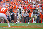 Mike Weaver (7) of the Wake Forest Demon Deacons follows through on the opening kick-off in the game against the Clemson Tigers at Memorial Stadium on October 7, 2017 in Clemson, South Carolina.  The Tigers defeated the Demon Deacons 28-14. (Brian Westerholt/Sports On Film)