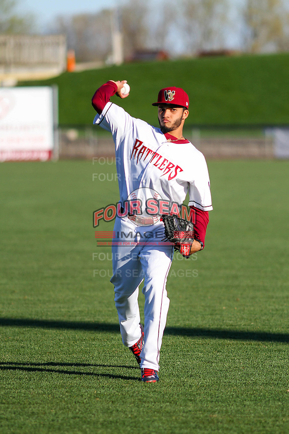 Wisconsin Timber Rattlers pitcher Marcos Diplan (18) warms up prior to a Midwest League game against the Lansing Lugnuts on April 29th, 2016 at Fox Cities Stadium in Appleton, Wisconsin.  Wisconsin defeated Lansing 2-0. (Brad Krause/Four Seam Images)