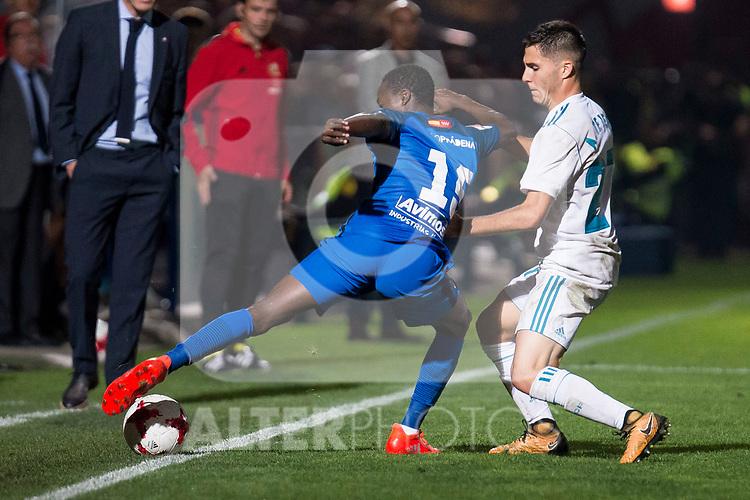 Fuenlabrada Yaw Annor and Real Madrid Alvaro Tejero during Copa del Rey match between Fuenlabrada and Real Madrid at Fernando Torres Stadium in Madrid, Spain. October 26, 2017. (ALTERPHOTOS/Borja B.Hojas)