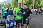 06.07.2019, Parkstadion, Zell am Ziller, AUT, TL Werder Bremen - Tag 03<br /> <br /> Von Bremen mit dem Rad ins Zillertal - auch ein Gabelbruch kurz vor Hannover konnte ihn nicht stoppen.<br /> <br /> Nach 870 km auf dem Rad in acht Tagen _ davon drei Tage Zwangspause in Hannover kam der Werder Fan Maik Kuntze erschöpft und vom Sturz gekennzeichnet in Zell am Ziller an. Seine ersten Worte - ich brauche nun erstmal eine Dusche - und wie bekomme ich mein Rad wieder nach Hause.<br /> <br /> Da der Gabelbruch einiges aus der Reisekasse gekostet hat, sammelten sofort Fan Mitglieder einen ansehnlichen dreistelligen Betrag<br /> <br /> im Bild / picture shows <br /> <br /> Maik Kuntze und Dr. Hubertus Hess-Grunewald (Geschäftsführer Organisation & Sport SV Werder Bremen)<br /> <br /> <br /> Foto © nordphoto / Kokenge