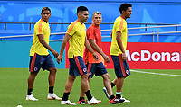 KAZAN - RUSIA, 23-06-2018: Luis MURIEL, Radamel FALCAO y Abel AGUILAR jugadores de Colombia, durante entrenamiento en Kazan Arena previo al encuentro del Grupo previo al encuentro del grupo H  con Polonia como parte de la Copa Mundo FIFA 2018 Rusia. / Luis MURIEL, Radamel FALCAO and Abel AGUILAR players of Colombia during training session in KazanArena prior the group H match with Poland as part of the 2018 FIFA World Cup Russia. Photo: VizzorImage / Julian Medina / Cont
