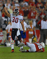 Oct. 16, 2006; Glendale, AZ, USA; Chicago Bears safety (30) Mike Brown celebrates after tackling Arizona Cardinals wide receiver (86) Troy Walters at University of Phoenix Stadium in Glendale, AZ. Mandatory Credit: Mark J. Rebilas