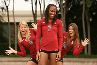 STANFORD, CA - AUGUST 12:  Katherine Knox (6) , Jessica Walker (7), and Katherine Sebastian (14) of the Stanford Cardinal during picture day on August 12, 2008 at Arrillaga Plaza in Stanford, California.