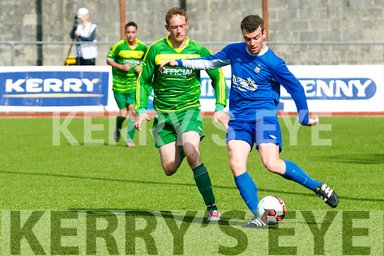 In Action Mitchel's Robert Lynch and Athletic's Shane Doolin  the Greyhound Bar Cup Final against Mitchel's Avenue at Mounthawk park on Sunday