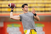 July 31, 2009; Hamilton, ON, CAN; Hamilton Tiger-Cats quarterback Adam Tafralis (17). CFL football: BC Lions vs. Hamilton Tiger-Cats at Ivor Wynne Stadium. The Tiger-Cats defeated the Lions 30-18. Mandatory Credit: Ron Scheffler. Copyright (c) 2009 Ron Scheffler.