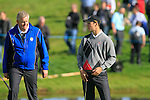 Martin Kaymer and Captain Colin Montgomerie during Practice Day 1 at the 2010 Ryder Cup at the Celtic Manor Twenty Ten Course, Newport, Wales, 28th September 2010..(Picture Eoin Clarke/www.golffile.ie)