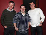 Cian Barrett celebrating his engagement at Brú with best man Richard Kyne and Groomsman Niall Shearman. Photo:Colin Bell/pressphotos.ie