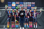 Canyon-SRAM win the Women's Team Time Trial of the 2018 UCI Road World Championships running 54.7km from Ötztal to Innsbruck, Innsbruck-Tirol, Austria 2018.<br /> Picture: Innsbruck-Tirol 2018/Dario Belingheri | Cyclefile<br /> <br /> <br /> All photos usage must carry mandatory copyright credit (© Cyclefile | Dario Belingheri/Innsbruck-Tirol 2018)