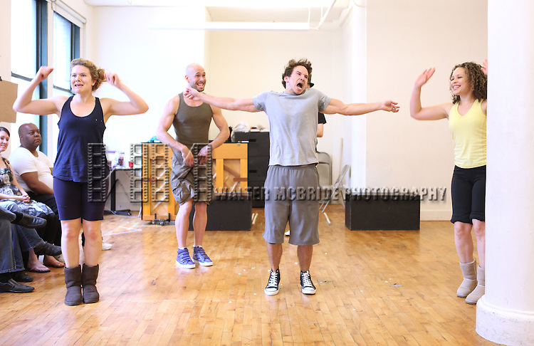 Brandon Espinoza.with the cast from 'Triassic Parq The Musical'  during a Sneak Peek Rehearsal at the CAP21 Studios in New York City on 5/30/2012. © Walter McBride/WM Photography / Retna Ltd.