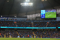 2nd November 2019; Etihad Stadium, Manchester, Lancashire, England; English Premier League Football, Manchester City versus Southampton; the match scoreboard during the first half as Southampton hold a 0-1 lead - Strictly Editorial Use Only. No use with unauthorized audio, video, data, fixture lists, club/league logos or 'live' services. Online in-match use limited to 120 images, no video emulation. No use in betting, games or single club/league/player publications