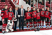 Hayley Scamurra (NU - 14), Sarah Foss (NU - 21), Joe Bertagna, Dave Flint (NU - Head Coach), Heather Mottau (NU - 26), Ainsley MacMillan (NU - 66), Melissa Haganey (NU - 19), Paige Savage (NU - 28), Hayley Masters (NU - 23) -  The Boston College Eagles defeated the Northeastern University Huskies 2-1 in overtime to win the 2017 Hockey East championship on Sunday, March 5, 2017, at Walter Brown Arena in Boston, Massachusetts.