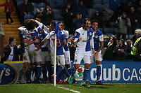 Blackburn Rovers' Charlie Mulgrew is swamped by teammates after scoring the third goal with Blackburn Rovers' Danny Graham leading the celebrations<br /> <br /> Photographer Rachel Holborn/CameraSport<br /> <br /> The EFL Sky Bet League One - Blackburn Rovers v Shrewsbury Town - Saturday 13th January 2018 - Ewood Park - Blackburn<br /> <br /> World Copyright &copy; 2018 CameraSport. All rights reserved. 43 Linden Ave. Countesthorpe. Leicester. England. LE8 5PG - Tel: +44 (0) 116 277 4147 - admin@camerasport.com - www.camerasport.com