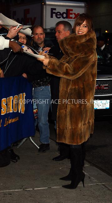 WWW.ACEPIXS.COM . . . . . ....NEW YORK, DECEMBER 16, 2004....Kate Beckinsale at The Late Show with David Letterman.....Please byline: ACE006 - ACE PICTURES.. . . . . . ..Ace Pictures, Inc:  ..Alecsey Boldeskul (646) 267-6913 ..Philip Vaughan (646) 769-0430..e-mail: info@acepixs.com..web: http://www.acepixs.com