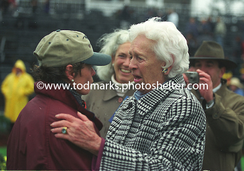 An emotional moment for Janet Elliot, left, and Flat Top's owner Nancy Gerry after the Colonial Cup.