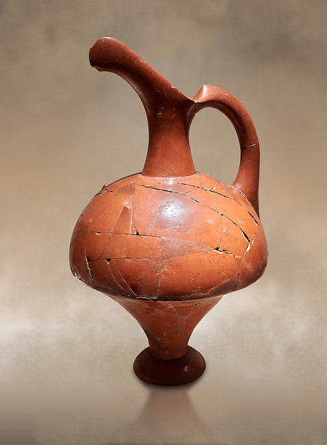 Hittite terra cotta pitcher - 16th century BC - Hattusa ( Bogazkoy ) - Museum of Anatolian Civilisations, Ankara, Turkey