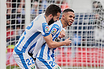 CD Leganes's Dimitrios Siovas (L) and Youssef En-Nesyri (R) celebrate goal during La Liga match between CD Leganes and Real Betis Balompie at Butarque Stadium in Madrid, Spain. February 10, 2019. (ALTERPHOTOS/A. Perez Meca)