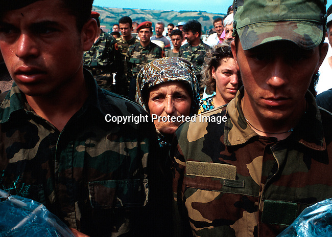 A funeral for KLA soldiers missing in action during the fighting with Serb forces during the Kosovo conflict. A ceremoni was held in  Djakovica, Kosovo in late June 1999. .Photo: Per-Anders Pettersson (ppettersso@aol.com)