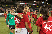 Portland, OR - Sunday July 31, 2016: Nadia Nadim, Girls of the Game after a regular season National Women's Soccer League (NWSL) match between the Portland Thorns FC and Seattle Reign FC at Providence Park.