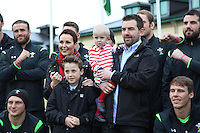 Friday 13 February 2015<br /> Pictured: Wales Rugby Team with Freya Bevan <br /> Re: The Welsh rugby team gather for a group picture with Freya Bevan and her family to support The Freya Bevan Trust Fund which has been established to raise awareness of Freya's case and to raise substantial funds to support Freya for every eventuality.