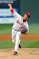 Pitcher Jamie Callahan (23) of the Greenville Drive struck out a team record 11 batters in a game against the Kannapolis Intimidators on Thursday, April 10, 2014, at Fluor Field at the West End in Greenville, South Carolina. Callahan, from Hamer, S.C., was a 2nd Round pick of the Boston Red Sox in the 2012 First-Year Player Draft. Callahan is Boston's No. 22 prospect, according to Baseball America. Greenville won, 7-6. (Tom Priddy/Four Seam Images)